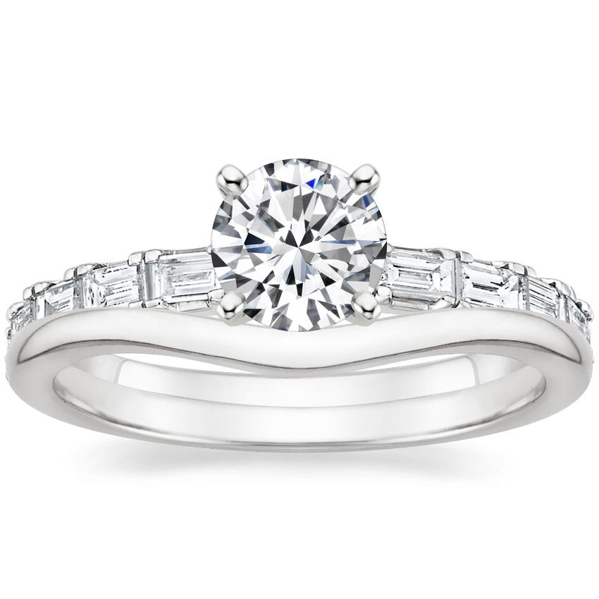 18K White Gold Gemma Diamond Ring with Petite Curved Wedding Ring