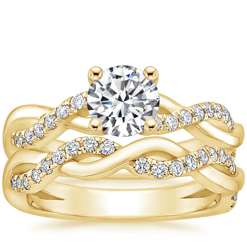 18K Yellow Gold Braided Vine Diamond Bridal Set (1/2 ct. tw.)