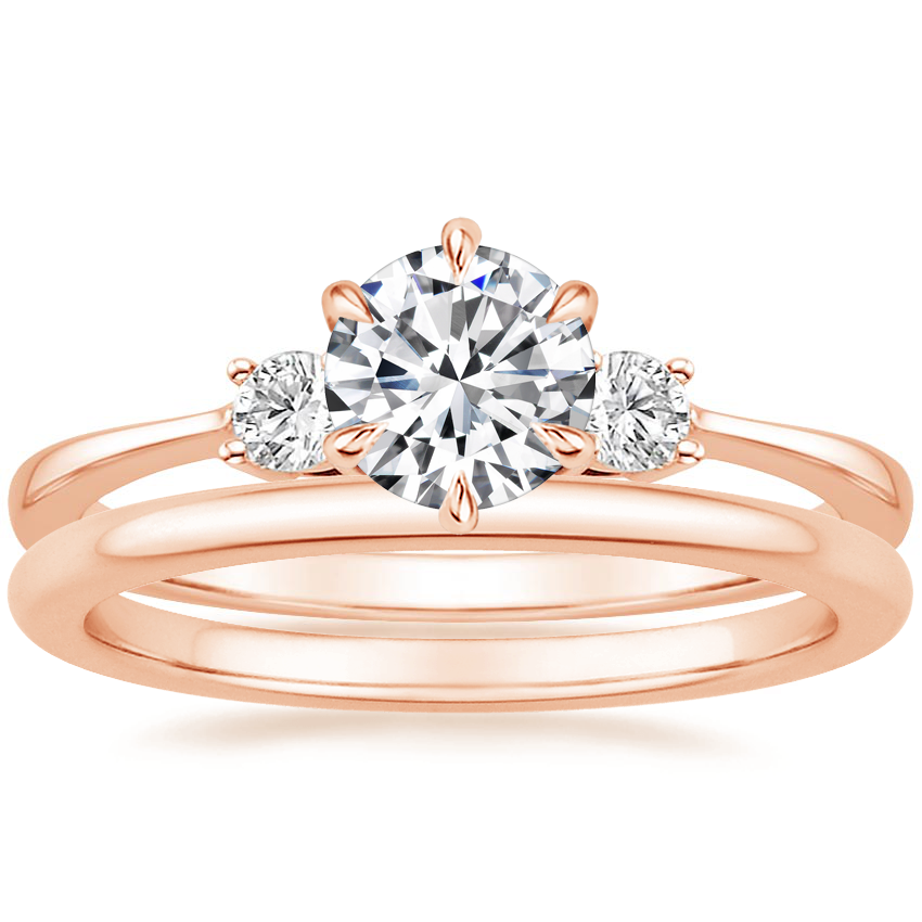 14K Rose Gold Six Prong Selene with Petite Comfort Fit Wedding Ring