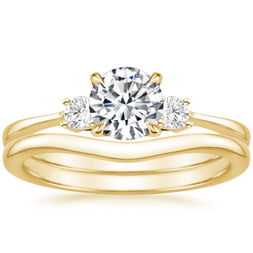 18K Yellow Gold Selene Diamond Ring (1/10 ct. tw.) with Petite Curved Wedding Ring