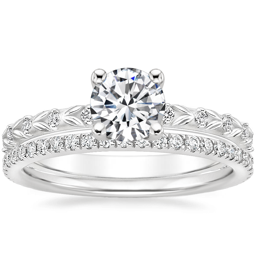 18K White Gold Hollie Diamond Ring with Luxe Ballad Diamond Ring (1/4 ct. tw.)