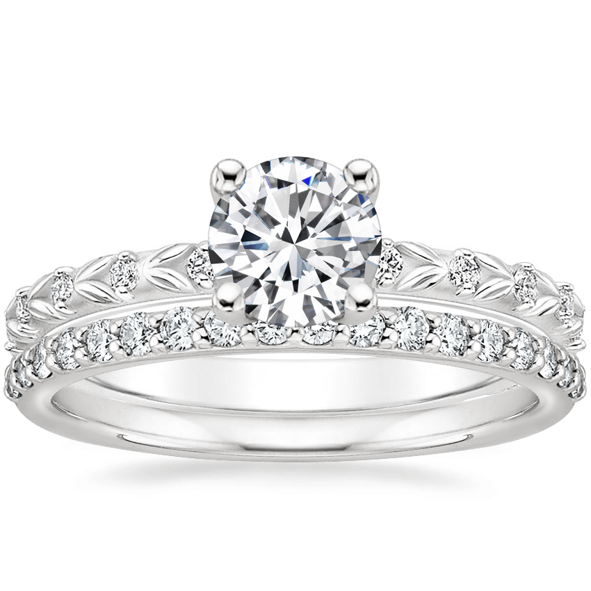 18K White Gold Hollie Diamond Ring with Petite Shared Prong Diamond Ring (1/4 ct. tw.)
