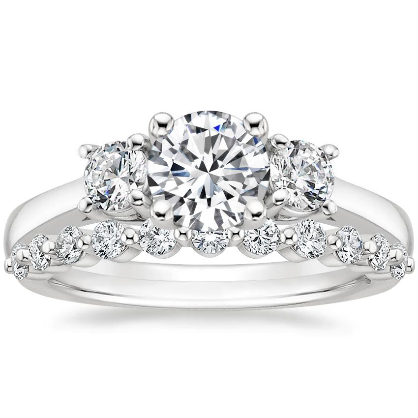18K White Gold Petite Three Stone Trellis Diamond Ring (1/3 ct. tw.) with Marseille Diamond Ring (1/3 ct. tw.)