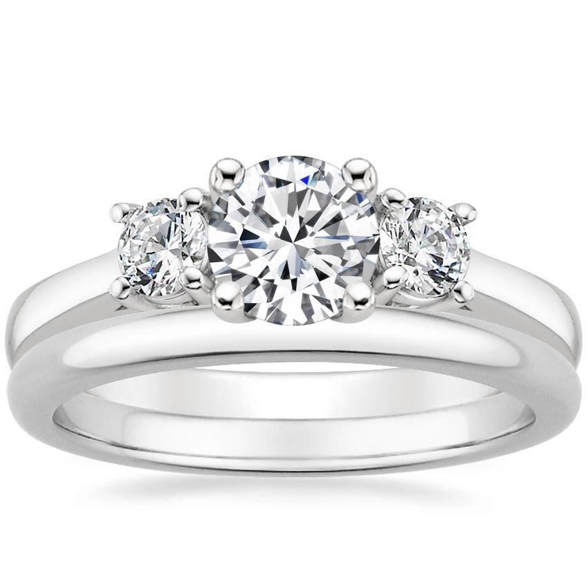 18K White Gold Petite Three Stone Trellis Ring (1/3 ct. tw.) with 2mm Comfort Fit Wedding Ring
