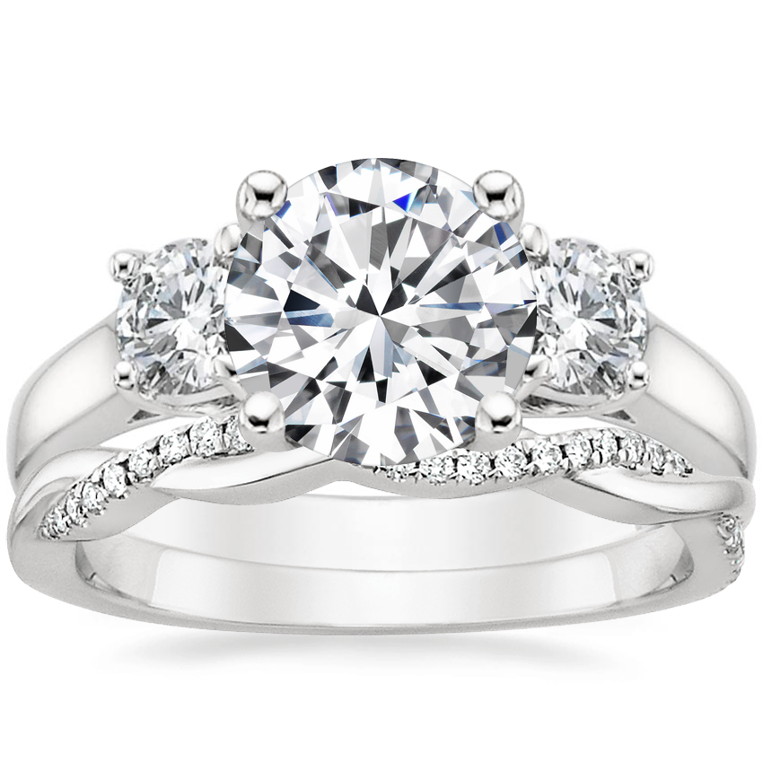 18K White Gold Three Stone Trellis Diamond Ring (1/2 ct. tw.) with Petite Twisted Vine Diamond Ring (1/8 ct. tw.)