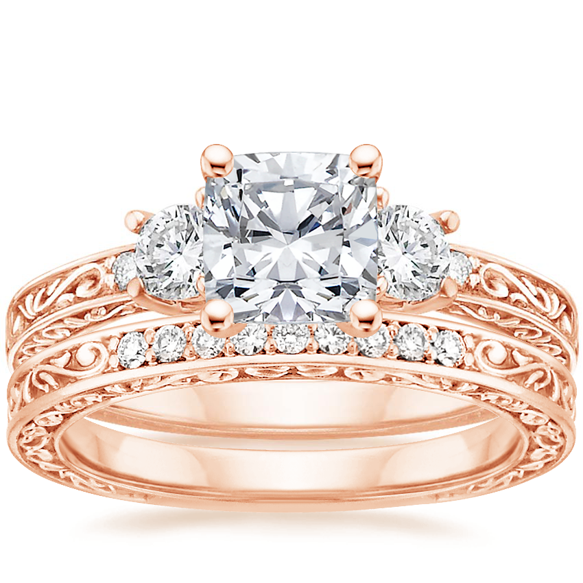 14K Rose Gold Antique Scroll Three Stone Trellis Diamond Ring (1/3 ct. tw.) with Delicate Antique Scroll Diamond Ring (1/15 ct. tw.)