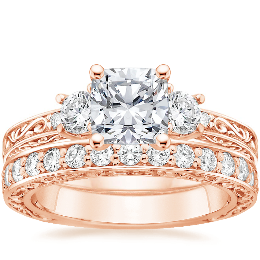 14K Rose Gold Antique Scroll Three Stone Trellis Diamond Ring (1/3 ct. tw.) with Antique Scroll Diamond Ring (2/5 ct. tw.)