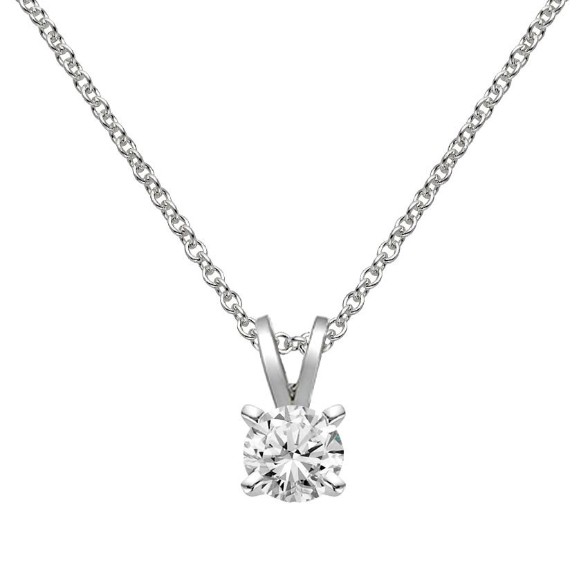 18K White Gold Double Bail Four Prong Pendant, top view