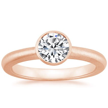 14K Rose Gold Frost Moon Ring, top view