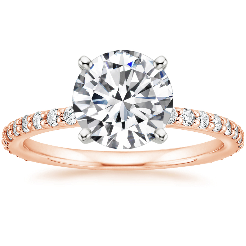 Round 14K Rose Gold Luxe Petite Shared Prong Diamond Ring (1/3 ct. tw.)