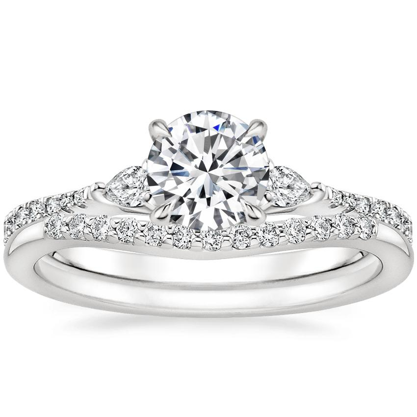 18K White Gold Luxe Aria Diamond Ring with Petite Curved Diamond Ring