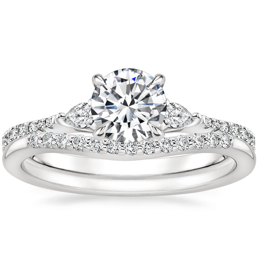 18K White Gold Luxe Aria Diamond Ring with Petite Curved Diamond Ring (1/10 ct. tw.)