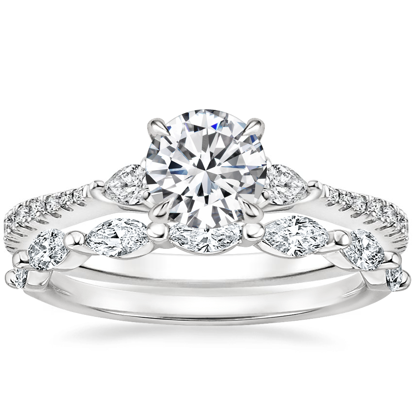 18K White Gold Luxe Aria Diamond Ring (1/5 ct. tw.) with Joelle Diamond Ring