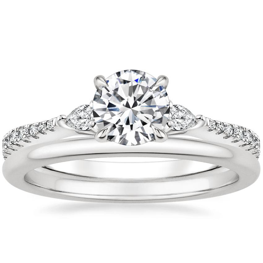 18K White Gold Luxe Aria Diamond Ring with Petite Comfort Fit Wedding Ring