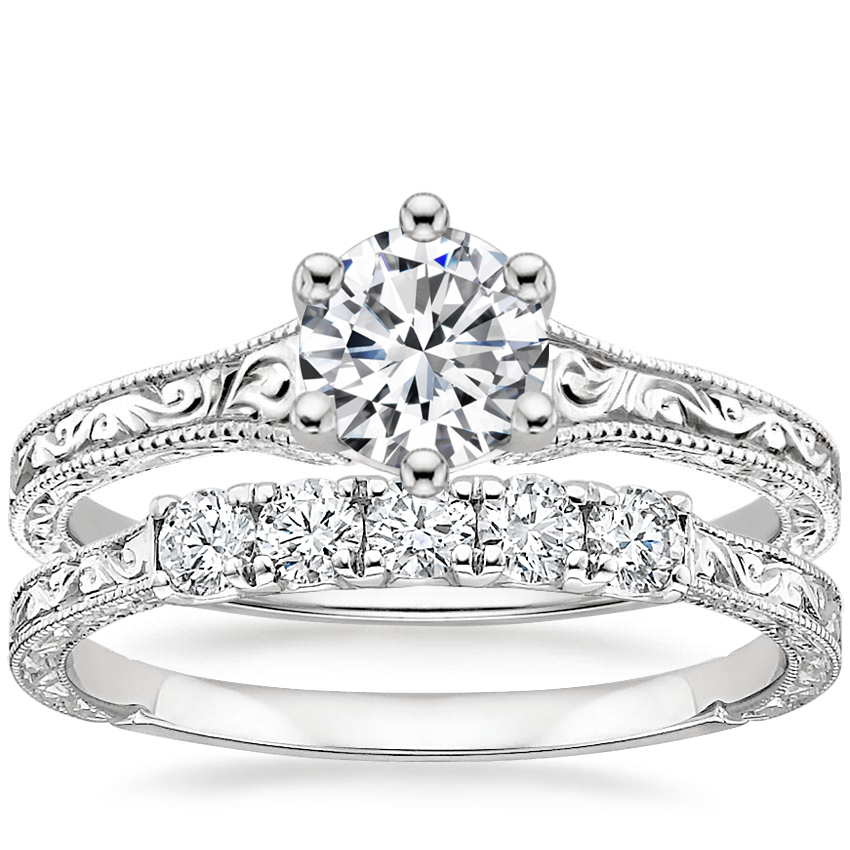 18K White Gold Hudson Ring with Hudson Five Stone Diamond Ring (1/4 ct. tw.)