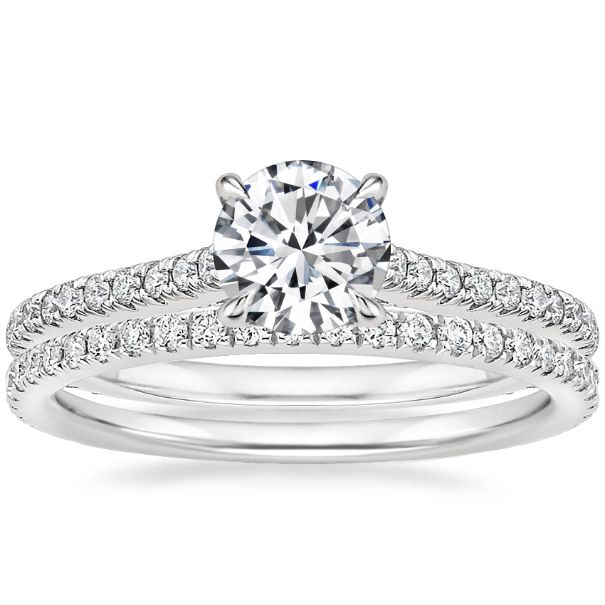 18K White Gold Arbor Diamond Ring (1/3 ct. tw.) with Luxe Ballad Diamond Ring (1/4 ct. tw.)