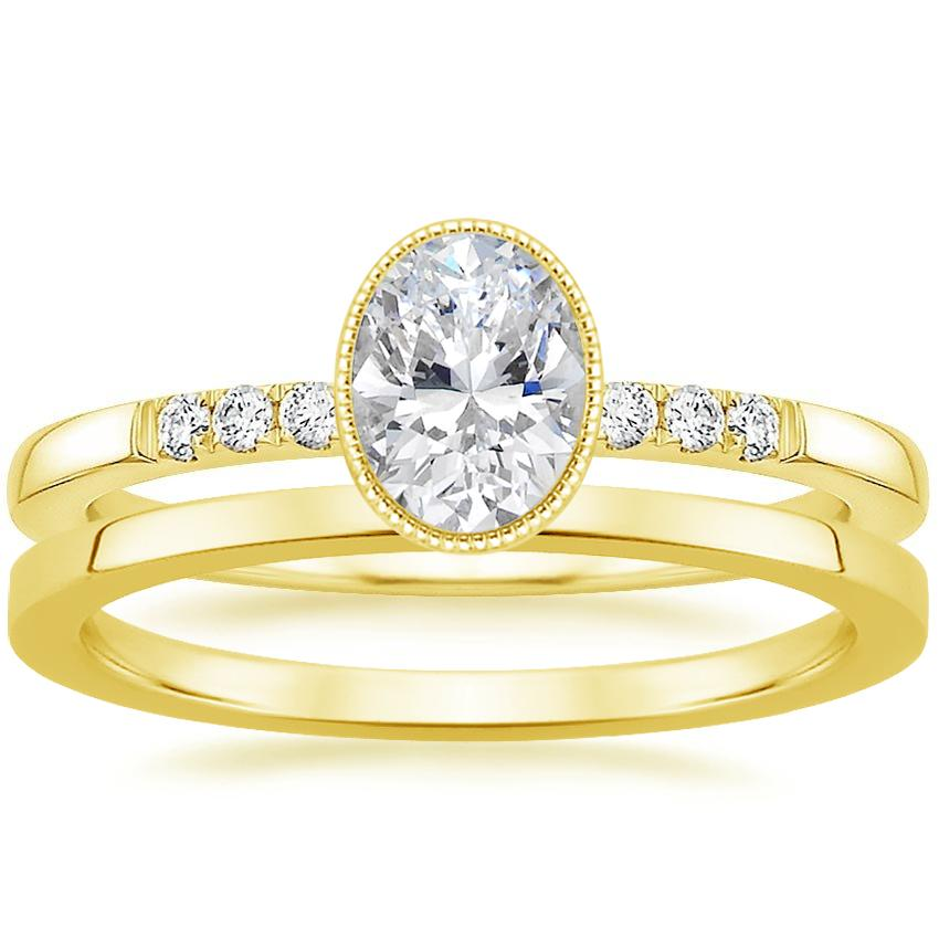 18K Yellow Gold Imogen Diamond Ring with Petite Quattro Wedding Ring