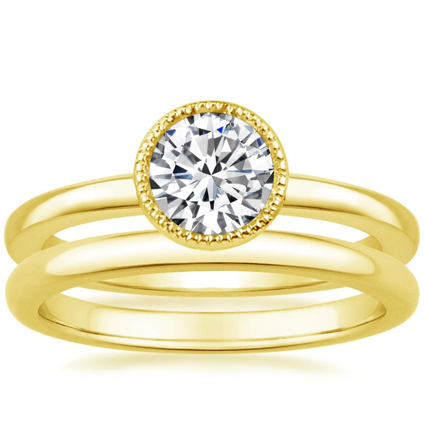 18K Yellow Gold Sierra Ring with 2mm Comfort Fit Wedding Ring