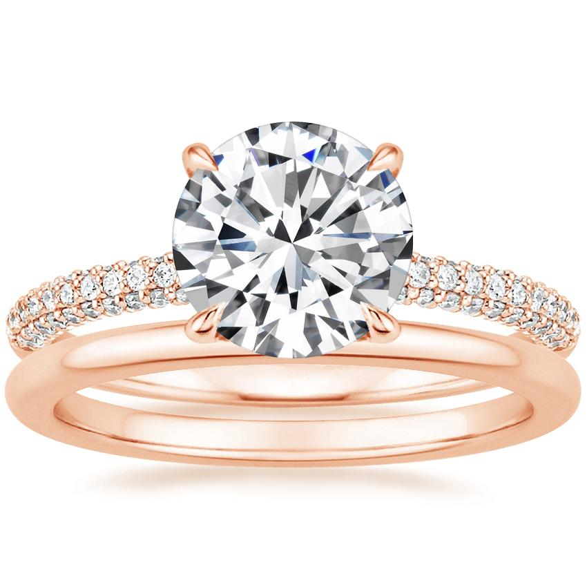 14K Rose Gold Valencia Diamond Ring with Petite Comfort Fit Wedding Ring