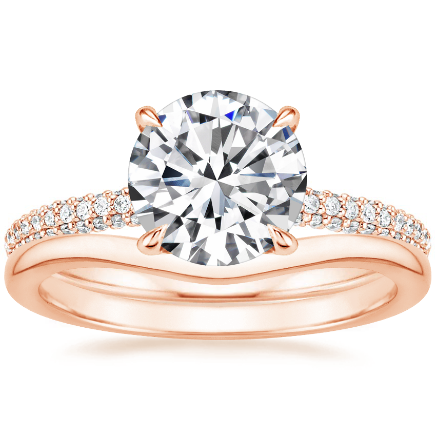 14K Rose Gold Valencia Diamond Ring (1/3 ct. tw.) with Petite Curved Wedding Ring