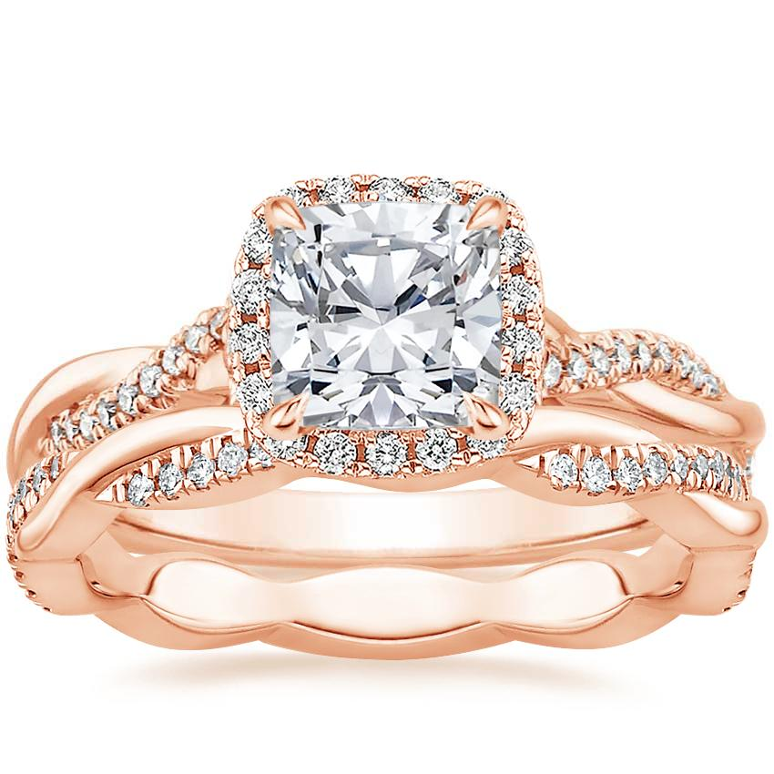 14K Rose Gold Petite Twisted Vine Halo Diamond Ring (1/4 ct. tw.) with Petite Twisted Vine Eternity Diamond Ring (1/5 ct. tw.)