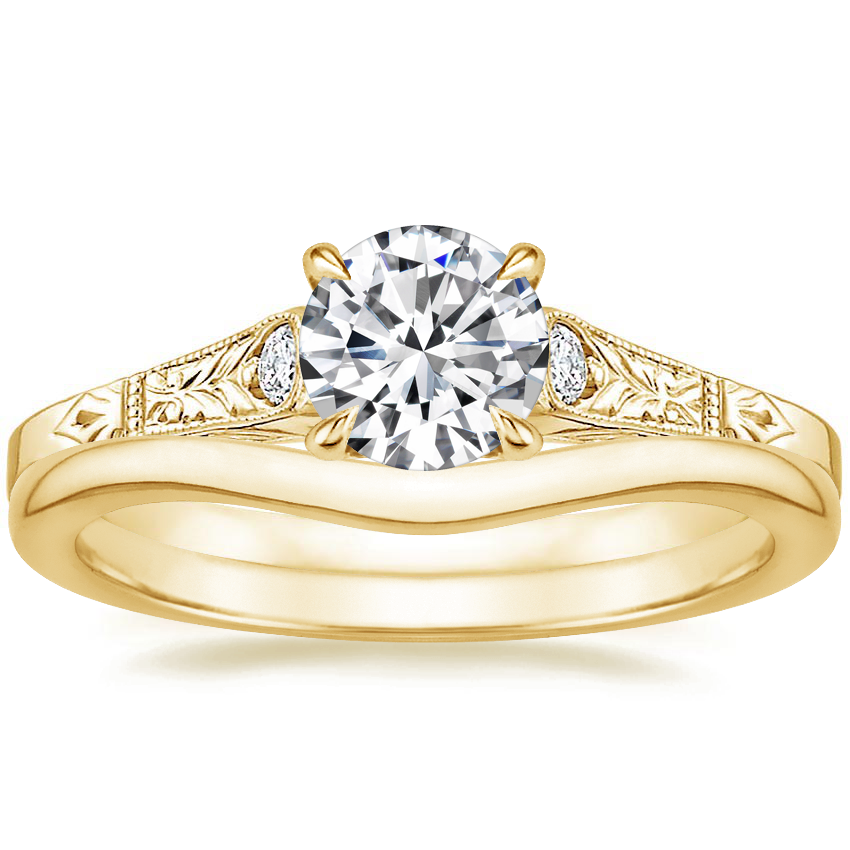 18K Yellow Gold Valentina Diamond Ring with Petite Curved Wedding Ring
