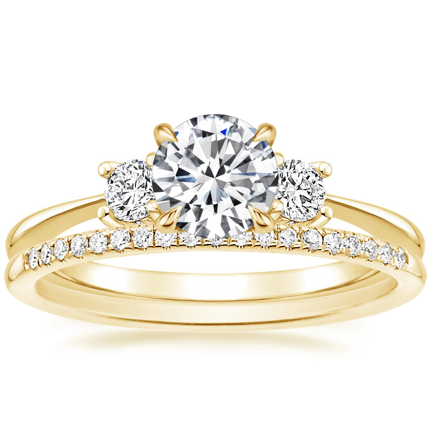 18K Yellow Gold Adorned Selene Diamond Ring (1/4 ct. tw.) with Whisper Diamond Ring (1/10 ct. tw.)