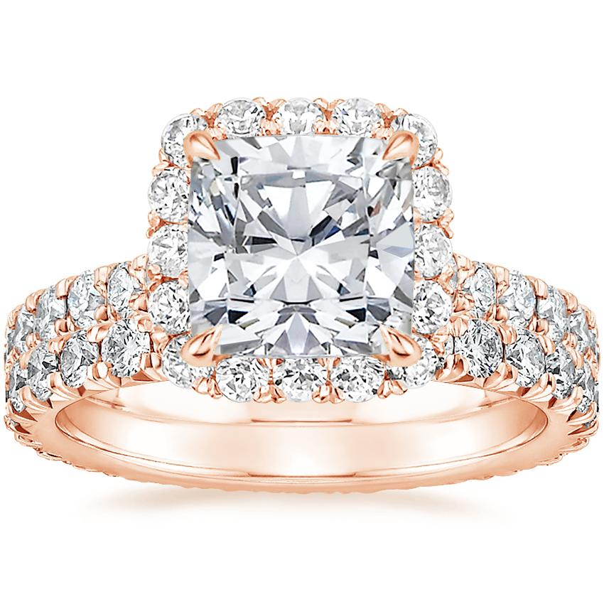 14K Rose Gold Estelle Diamond Ring (3/4 ct. tw.) with Sienna Eternity Diamond Ring (7/8 ct. tw.)