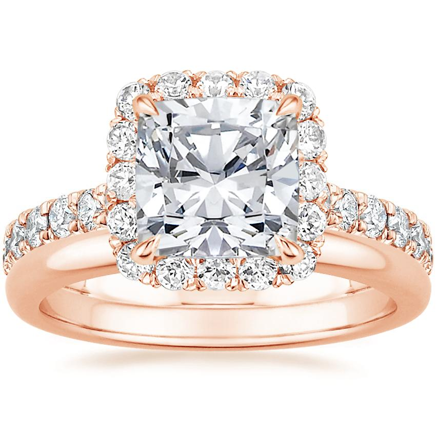 14K Rose Gold Estelle Diamond Ring (3/4 ct. tw.) with 2mm Comfort Fit Wedding Ring