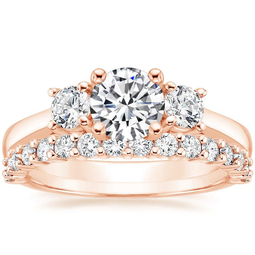 14K Rose Gold Petite Three Stone Trellis Diamond Ring (1/3 ct. tw.) with Shared Prong Diamond Ring (2/5 ct. tw.)