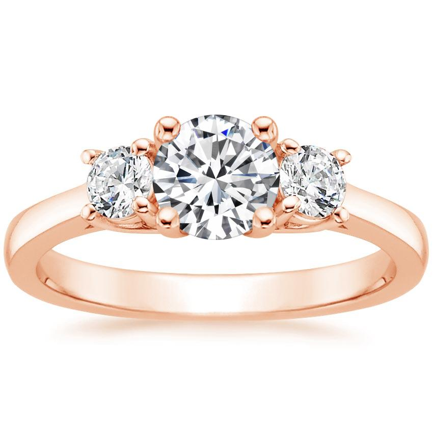 Round 14K Rose Gold Petite Three Stone Trellis Diamond Ring (1/3 ct. tw.)