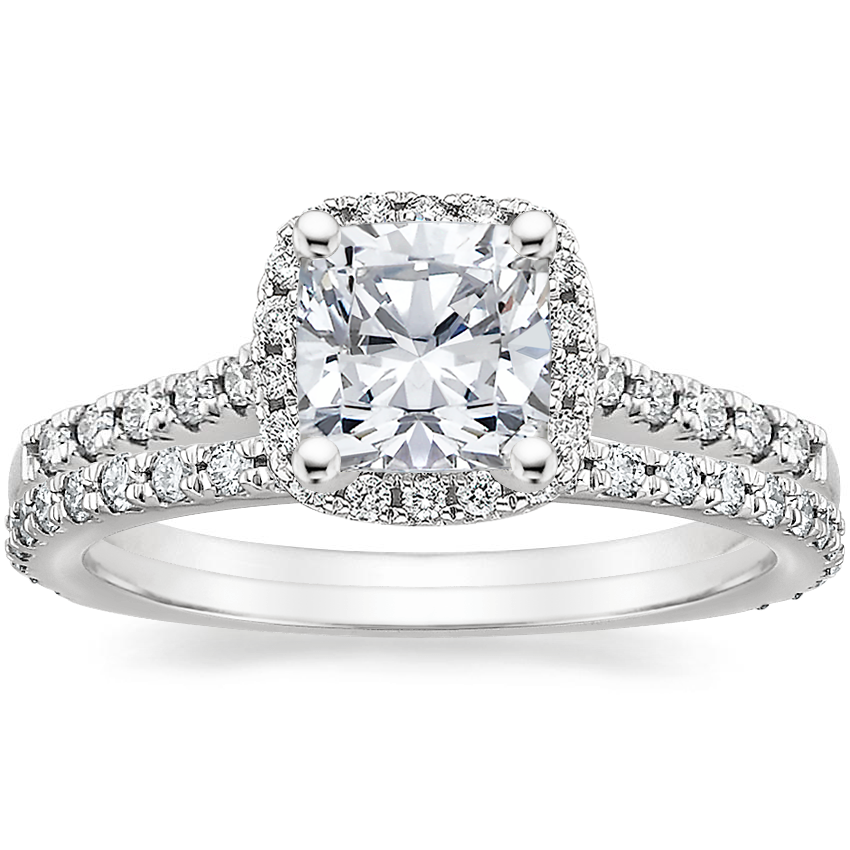 18K White Gold Odessa Diamond Ring (1/4 ct. tw.) with Luxe Sonora Diamond Ring (1/4 ct. tw.)