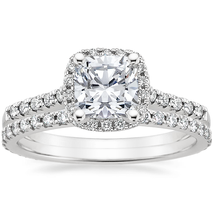 18K White Gold Odessa Diamond Ring (1/4 ct. tw.) with Sonora Eternity Diamond Ring (3/8 ct. tw.)