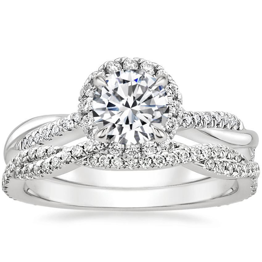 18K White Gold Monroe Diamond Ring with Petite Luxe Twisted Vine Diamond Ring (1/4 ct. tw.)