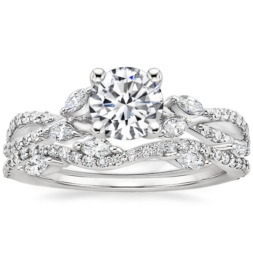 18K White Gold Luxe Willow Diamond Ring (1/3 ct. tw.) with Luxe Winding Willow Diamond Ring (1/4 ct. tw.)