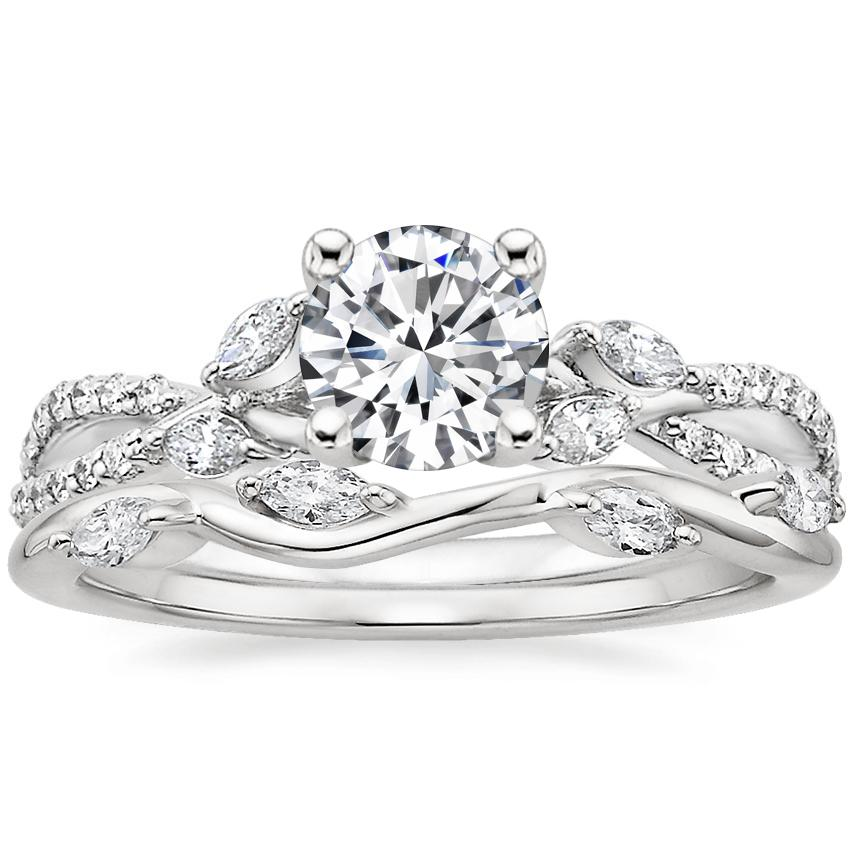 18K White Gold Luxe Willow Diamond Ring (1/3 ct. tw.) with Winding Willow Diamond Ring (1/8 ct. tw.)