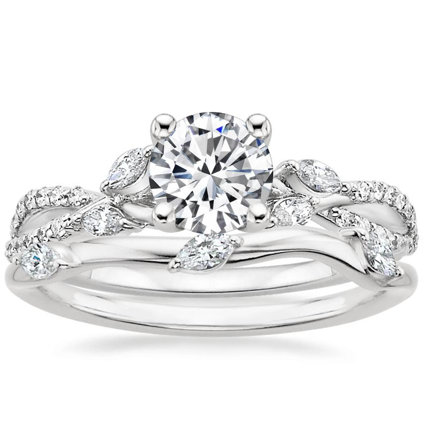 18K White Gold Luxe Willow Diamond Ring (1/3 ct. tw.) with Willow Diamond Ring (1/10 ct. tw.)