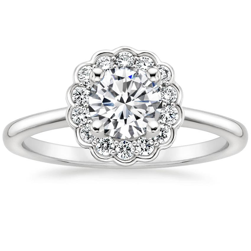 Round Floral Halo Engagement Ring