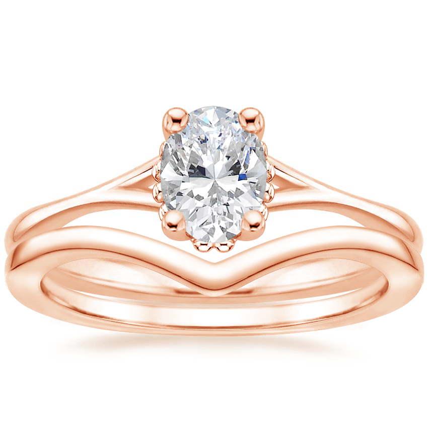 14K Rose Gold Cava Ring with Chevron Ring