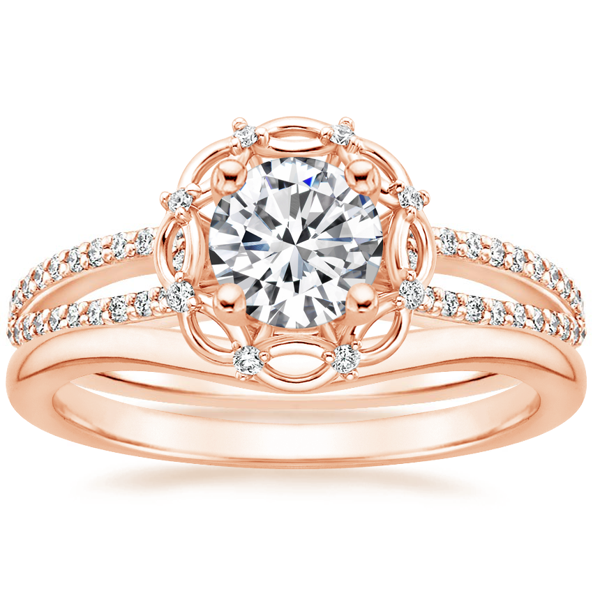 14K Rose Gold Isabella Diamond Ring with Petite Curved Wedding Ring