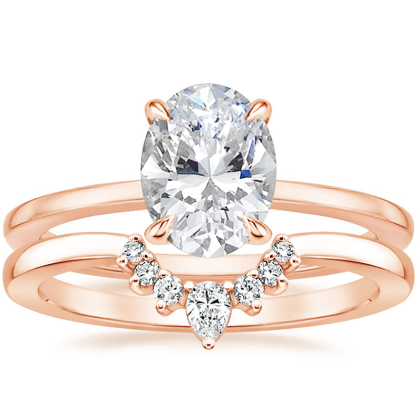 14K Rose Gold Lumiere Diamond Ring with Lunette Diamond Ring