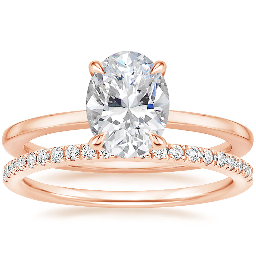 14K Rose Gold Lumiere Diamond Ring with Ballad Diamond Ring (1/6 ct. tw.)