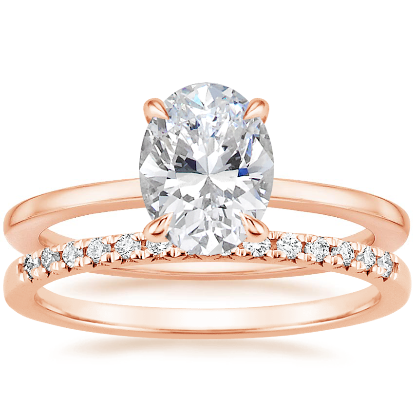 14K Rose Gold Lumiere Diamond Ring with Sonora Diamond Ring (1/8 ct. tw.)