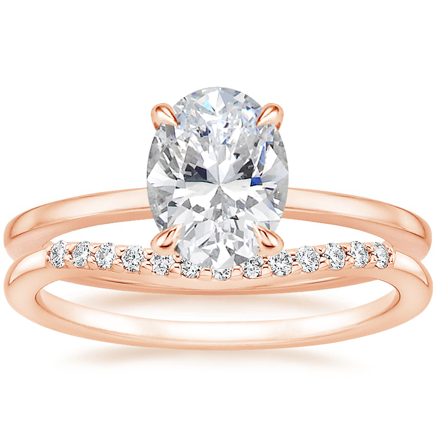 14K Rose Gold Lumiere Diamond Ring with Petite Curved Diamond Ring (1/10 ct. tw.)
