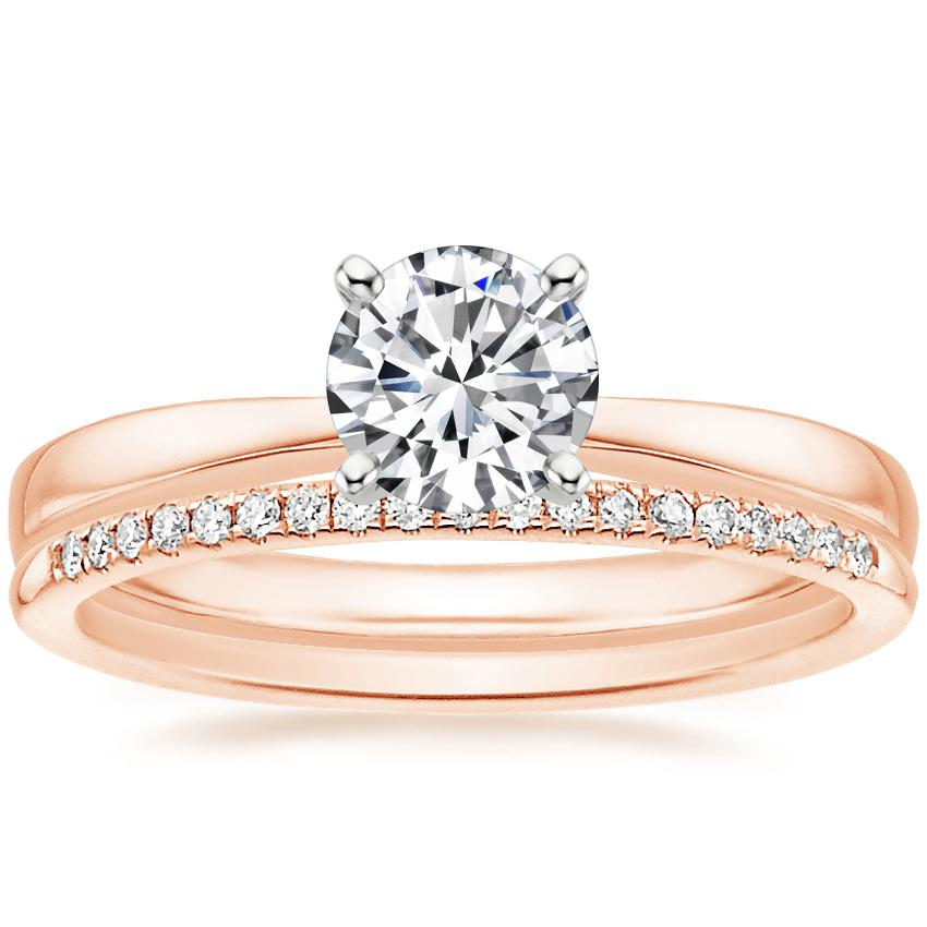 14K Rose Gold Petite Taper Ring with Whisper Diamond Ring (1/10 ct. tw.)