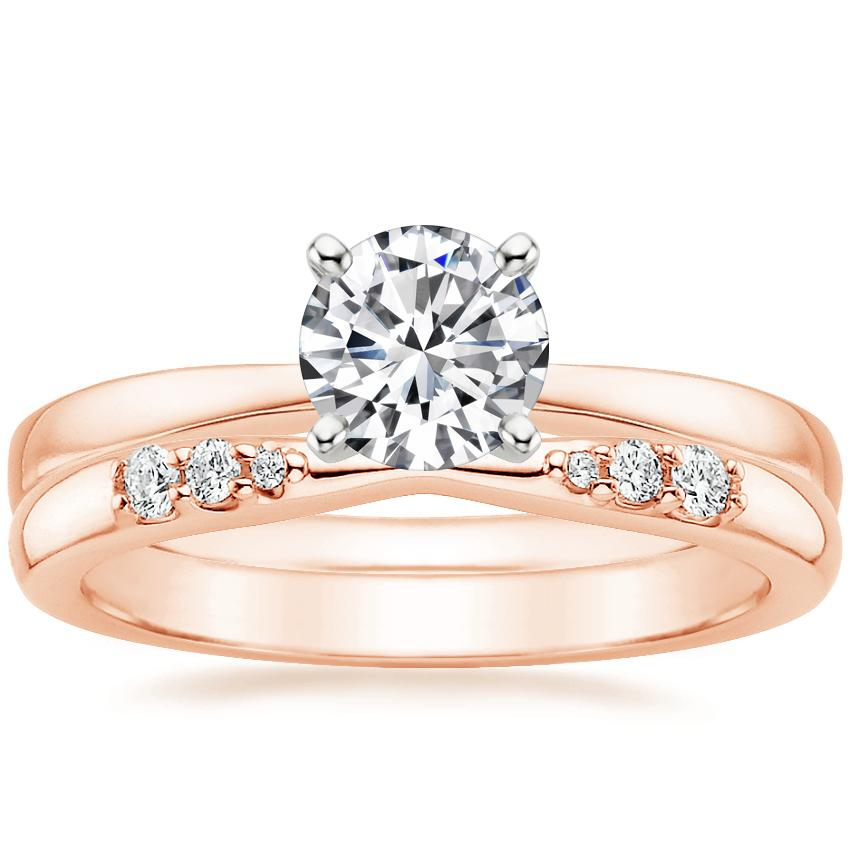14K Rose Gold Petite Taper Ring with Lark Diamond Ring