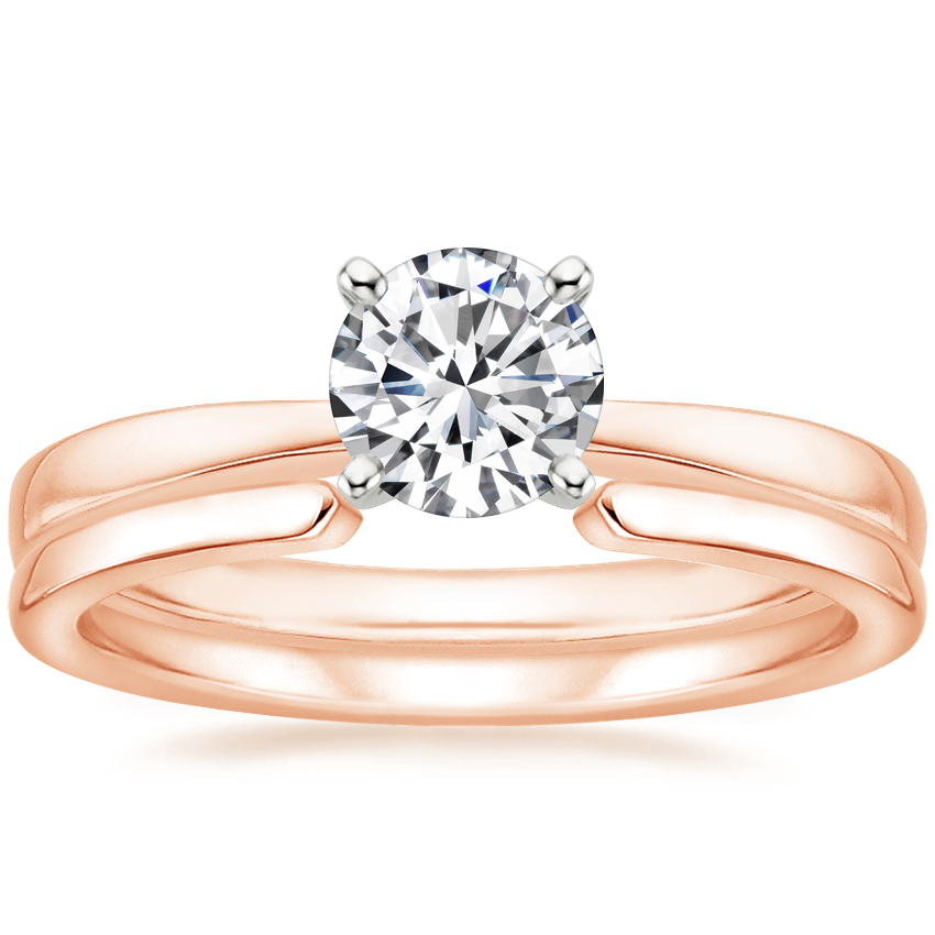 14K Rose Gold Petite Taper Ring with Liv Wedding Ring