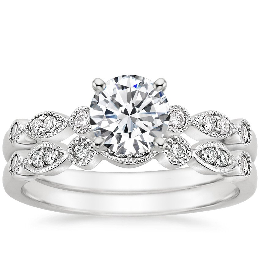 18K White Gold Tiara Matched Set, top view