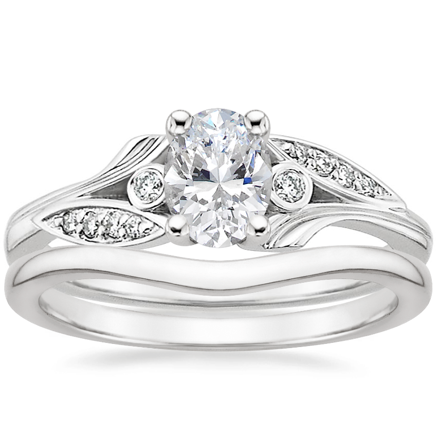 18K White Gold Jasmine Diamond Ring with Petite Curved Wedding Ring