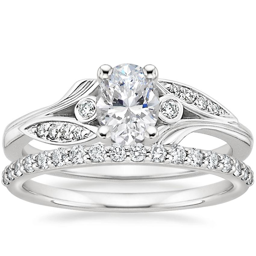 Platinum Jasmine Diamond Ring with Petite Shared Prong Diamond Ring (1/4 ct. tw.)